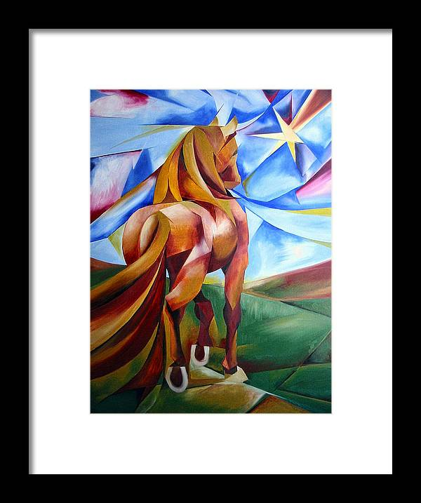 Horse Framed Print featuring the painting Far Away by Leyla Munteanu
