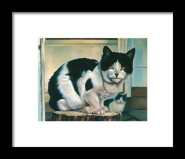 Cat Framed Print featuring the painting Farm Cat by Hans Droog