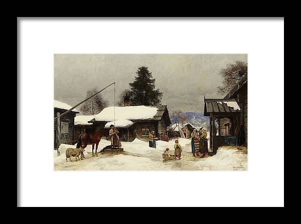 Olof Arborelius 1842-1915 Farm In The Dales Framed Print featuring the painting Farm In The Dales by MotionAge Designs