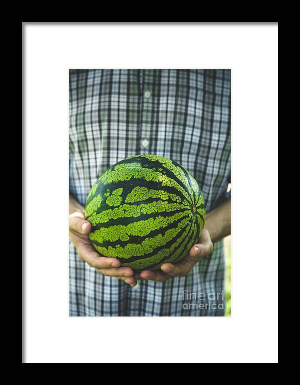 Crop Framed Print featuring the photograph Farmer With Watermelon by Mythja Photography