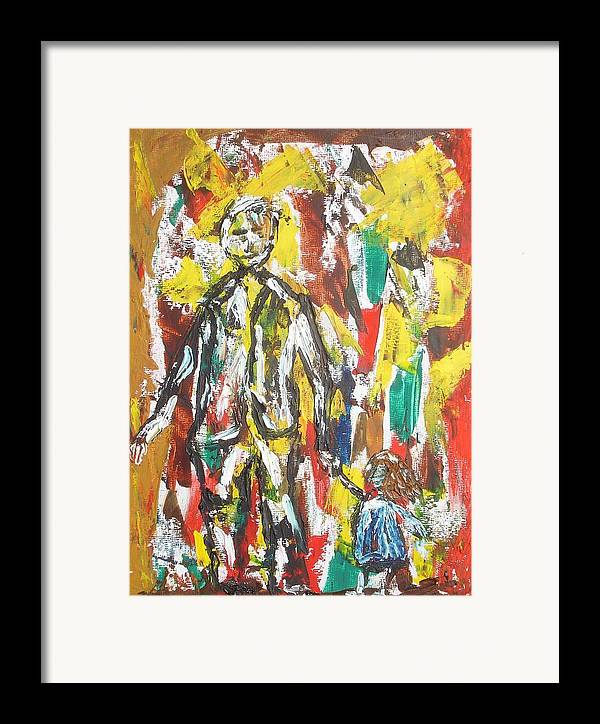 Act Framed Print featuring the painting Father And Daughter by Roger Cummiskey