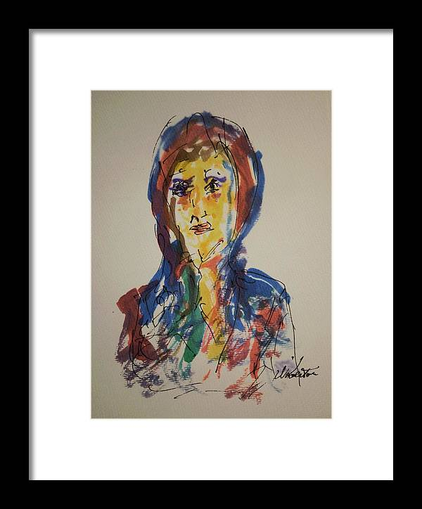 Portrait Framed Print featuring the painting Female Face Study D by Edward Wolverton