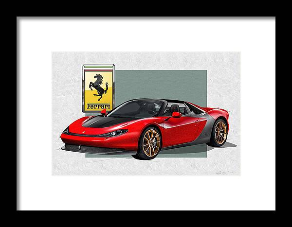 �ferrari� Collection By Serge Averbukh Framed Print featuring the photograph Ferrari Sergio With 3d Badge by Serge Averbukh