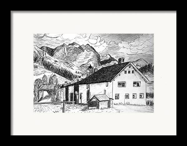Switzerland Framed Print featuring the drawing Fextal Switzerland by Monica Engeler