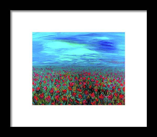 Flowers Framed Print featuring the painting Field Of Dreams by Deb Wolf