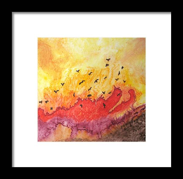 Birds Framed Print featuring the painting Fire Birds by Patricia Arroyo