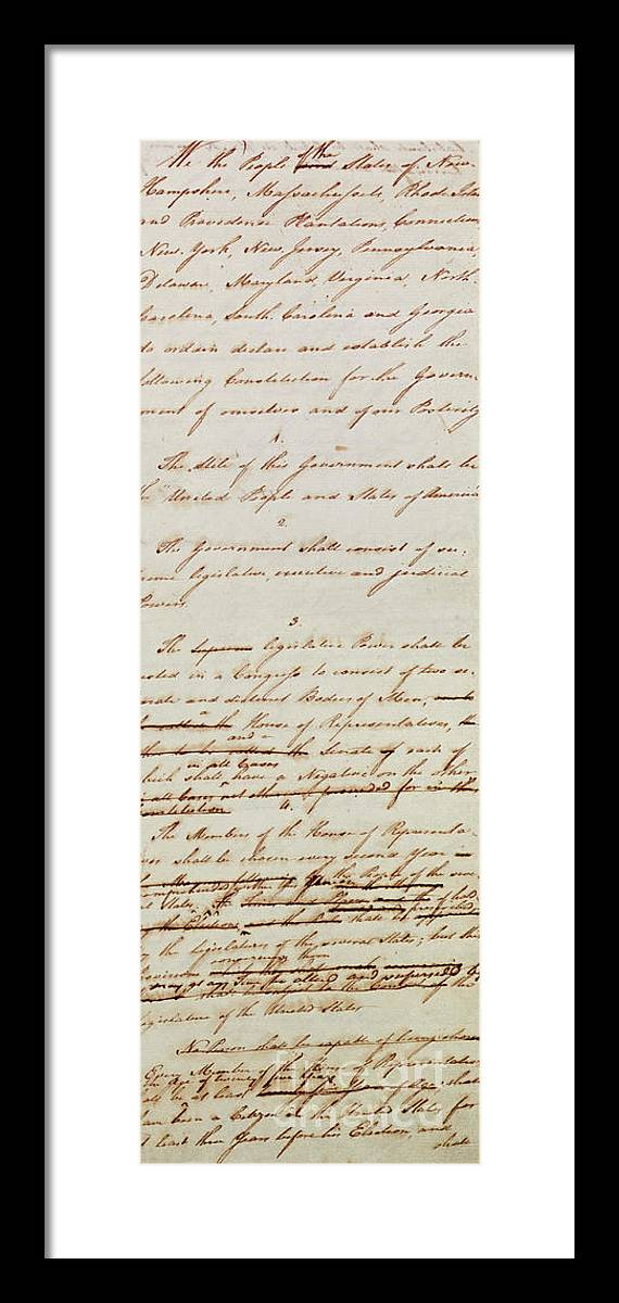 First Draft Of The Constitution Of The United States, 1787 Framed ...