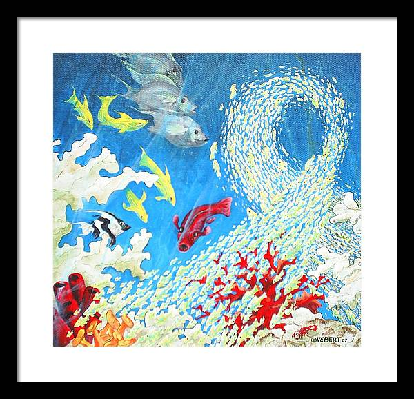 Marine Life Framed Print featuring the painting Fish Swarm by Dennis Vebert