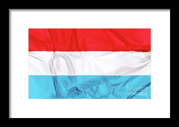 Luxembourg Framed Print featuring the digital art Flag Of Luxembourg by Benny Marty
