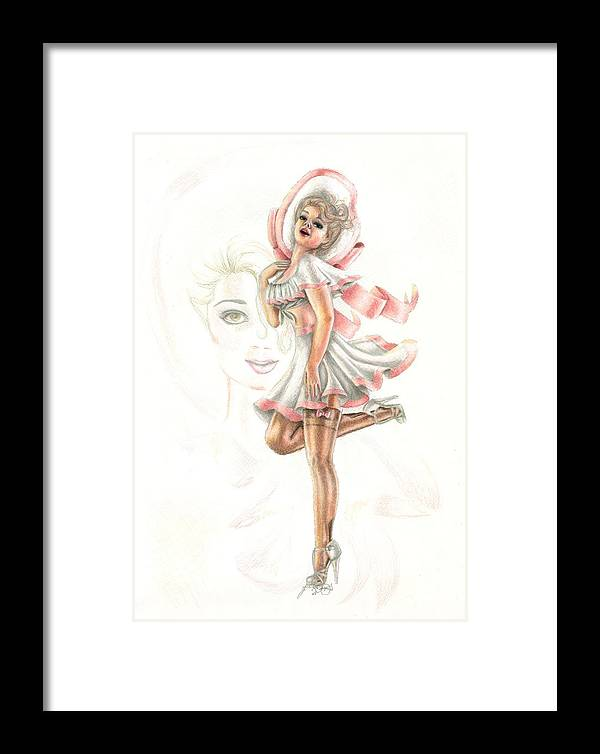 Face Framed Print featuring the drawing Flirtation In The Breeze by Scarlett Royal
