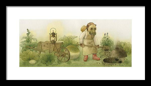 Bears Night Garden Dark Black Roses Flowers Green Magic Framed Print featuring the painting Florentius The Gardener 28 by Kestutis Kasparavicius