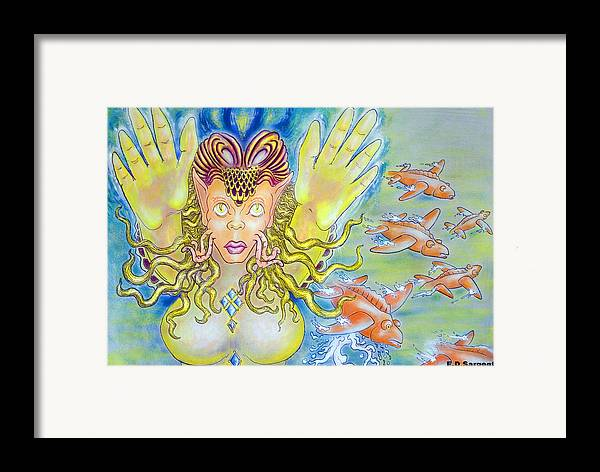 Fantasy Framed Print featuring the painting Fly N Fish by Eddie Sargent