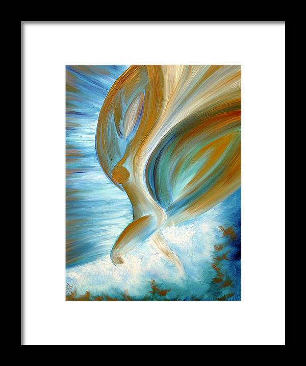 Angel Blue Painting Framed Print featuring the painting Flying Angel by Viviana Puello Villa