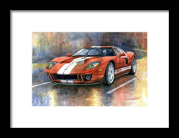 Watercolor Framed Print featuring the painting Ford GT 40 2006 by Yuriy Shevchuk