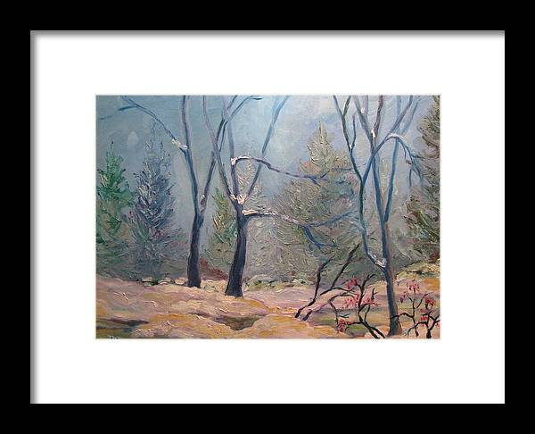 Forest Framed Print featuring the painting Forest At Twilight by Belinda Consten