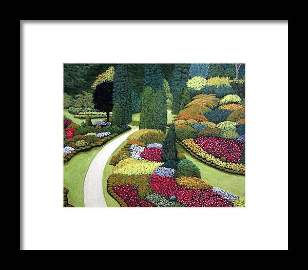 Landscape Framed Print featuring the painting Formal Gardens by Frederic Kohli