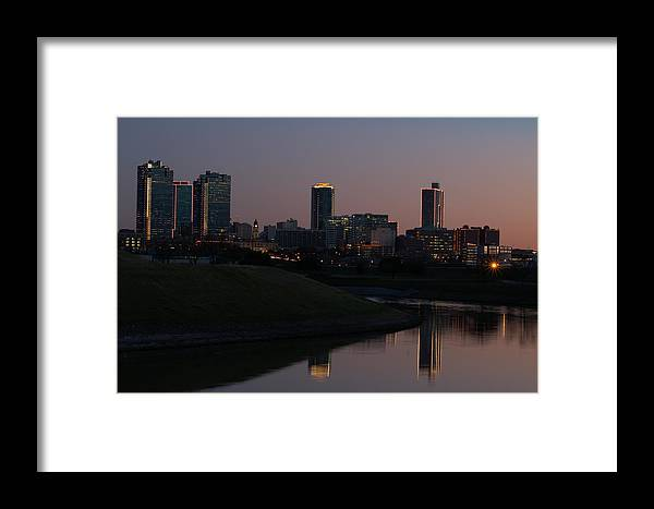 Fort Worth Framed Print featuring the photograph Fort Worth Skyline At Sunset by Lori Godfrey