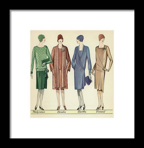 Flapper Framed Print featuring the painting Four Flappers Modelling French Designer Outfits, 1928 by American School