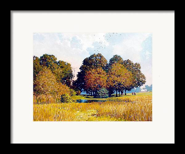 Landscape Framed Print featuring the painting Foursome by Kevin Lawrence Leveque
