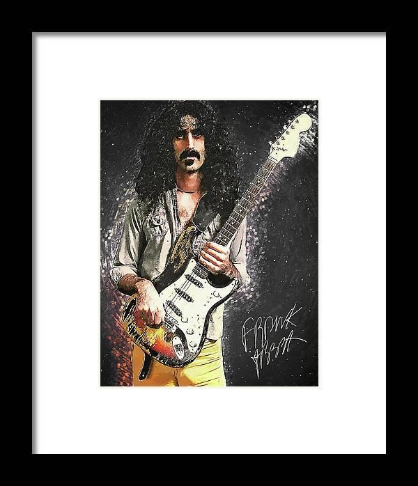 Frank Zappa Framed Print featuring the digital art Frank Zappa by Zapista OU