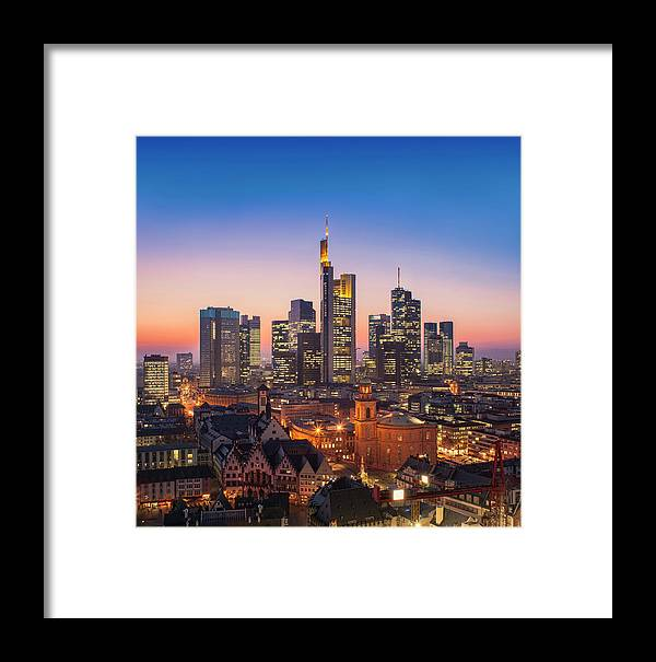 Germany Framed Print featuring the photograph Frankfurt Am Main Cityscape At Night, Aerial View by Ioan Panaite