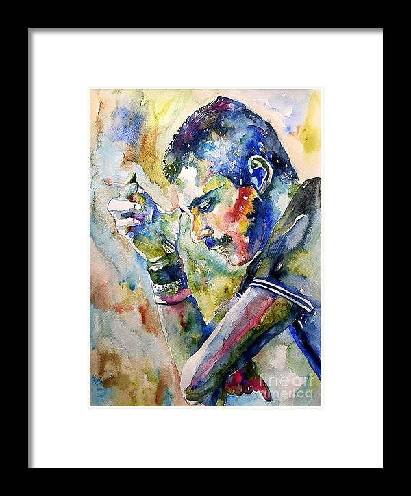 Freddie Framed Print featuring the painting Freddie Mercury Watercolor by Suzann Sines