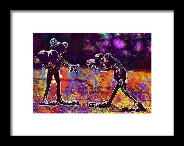 Frogs Framed Print featuring the digital art Frogs Love Valentine S Day Pose by PixBreak Art