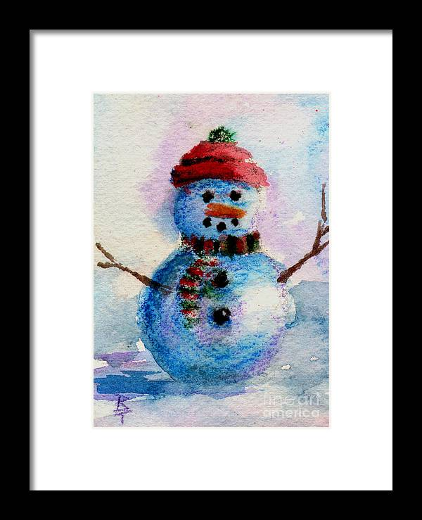 Snowman Framed Print featuring the painting Frosty Aceo by Brenda Thour