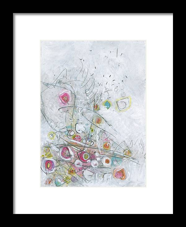 Abstract Expressionism Framed Print featuring the painting Fruit Salad On The Fourth Of July Picnic Table by Christine Alfery