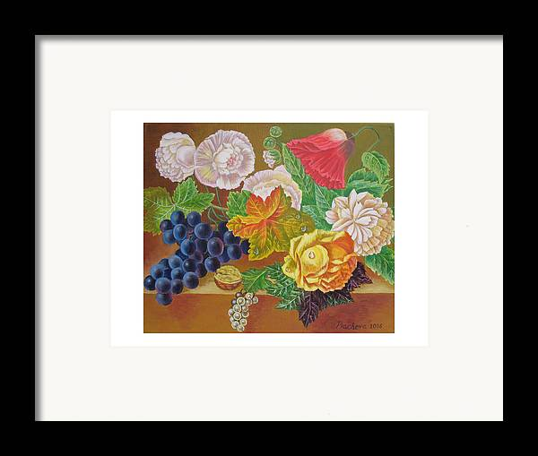 Still Life Framed Print featuring the painting Fruits And Flowers II. 2006 by Natalia Piacheva