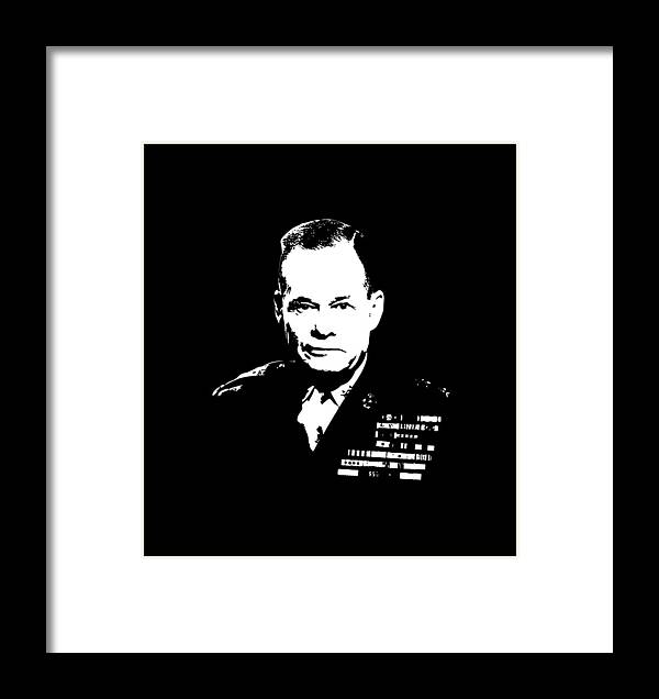 Chesty Puller Framed Print featuring the digital art General Lewis Chesty Puller by War Is Hell Store
