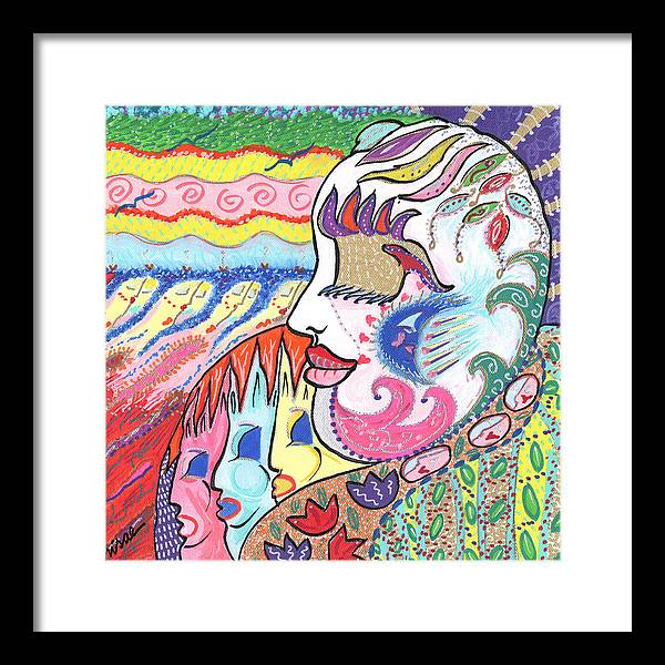 Harlequin Framed Print featuring the painting Gentle Smile by Sharon Nishihara