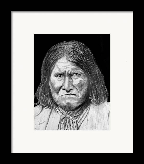 Indian Portrait Framed Print featuring the drawing Geronamo by Stan Hamilton