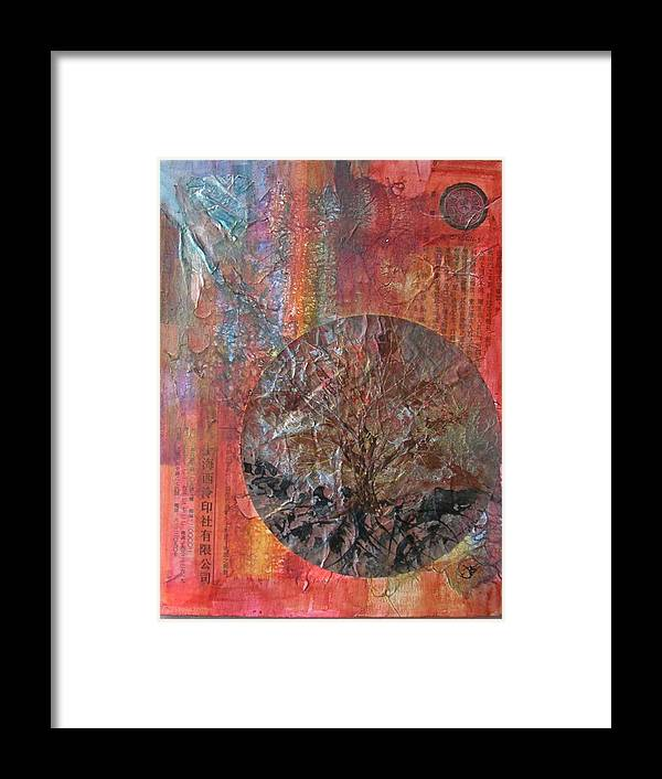 Abstract Framed Print featuring the painting Global Series 3 by John Vandebrooke