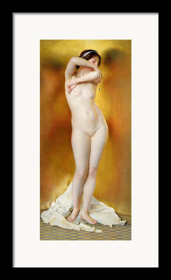 Female Framed Print featuring the painting Glow Of Gold Gleam Of Pearl by William McGregor Paxton