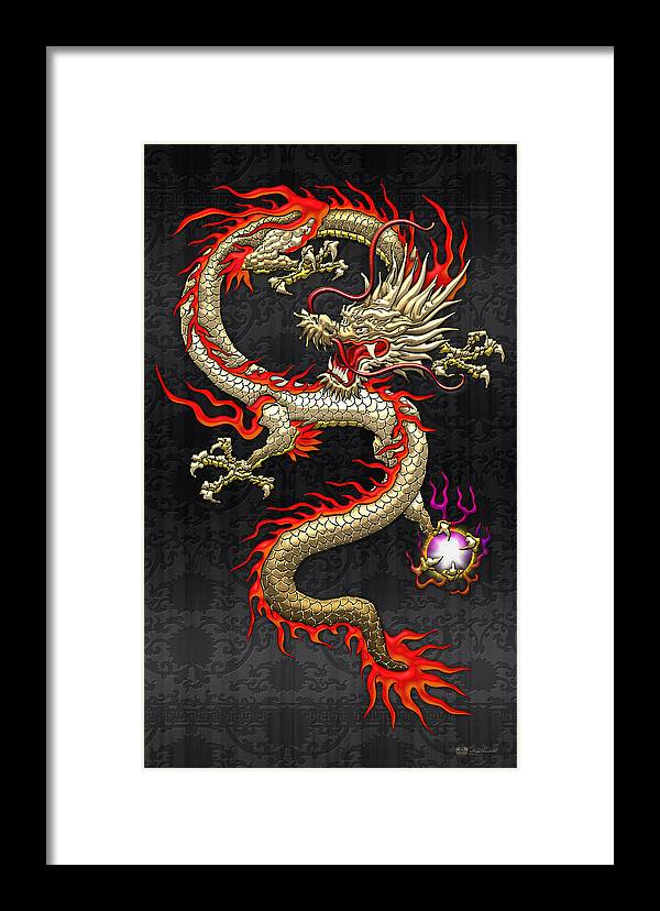 Treasures Of China By Serge Averbukh Framed Print featuring the photograph Golden Chinese Dragon Fucanglong by Serge Averbukh