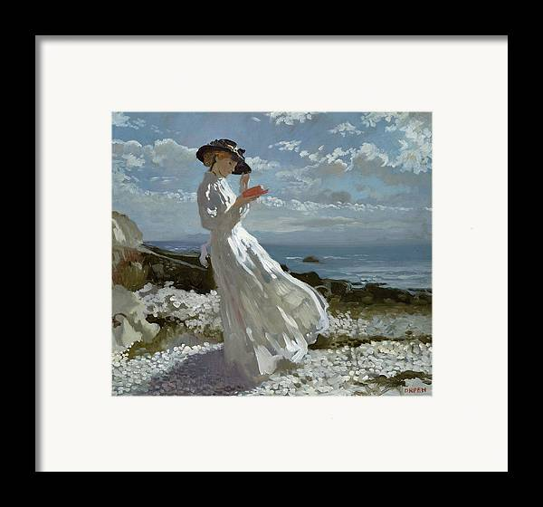 Grace Framed Print featuring the painting Grace Reading At Howth Bay by Sir William Orpen