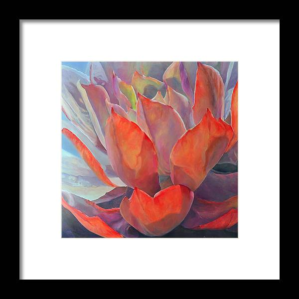 Floral Framed Print featuring the painting Grand Succulent by Muriel Dolemieux