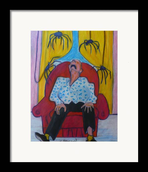 Crayon Framed Print featuring the painting Grandpa And The Spiders by Todd Peterson