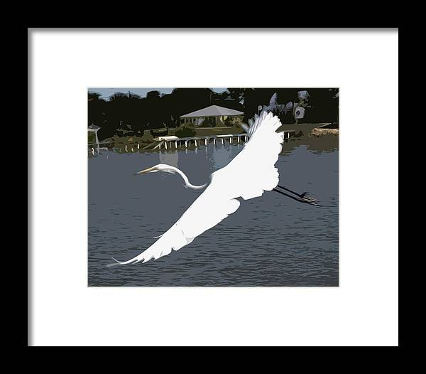 Great Framed Print featuring the painting Great Egret At Melbourne Beach by Allan Hughes