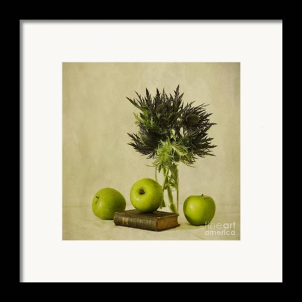 Apples Framed Print featuring the photograph Green Apples And Blue Thistles by Priska Wettstein