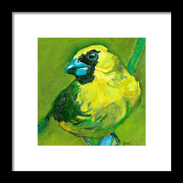 Green Framed Print featuring the painting Greenie by Debbie Beukema