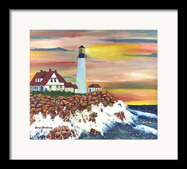 Lighthouse In The Begging Of A Storm Framed Print featuring the print Guiding Light by George Markiewicz