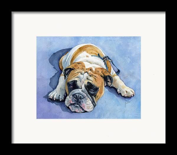 Bulldog Framed Print featuring the painting Gumdrop by Galen Hazelhofer
