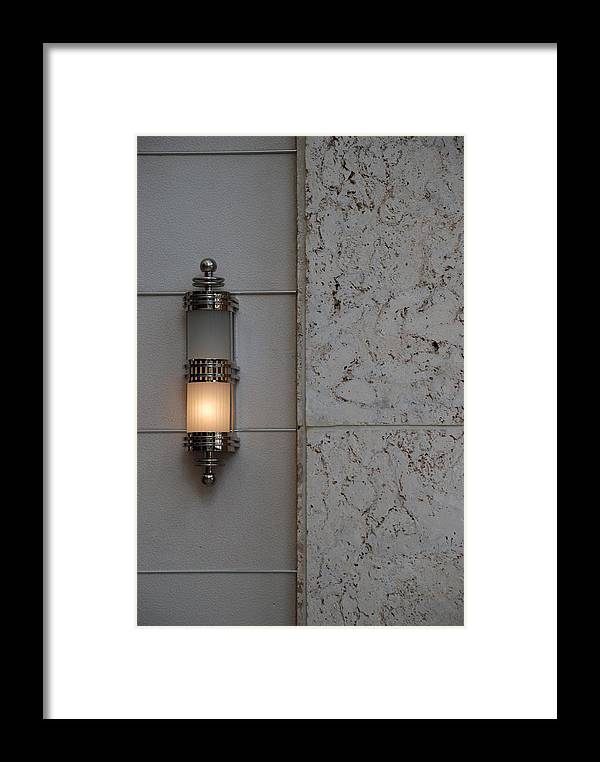 Sconce Framed Print featuring the photograph Half Lit Wall Sconce by Rob Hans
