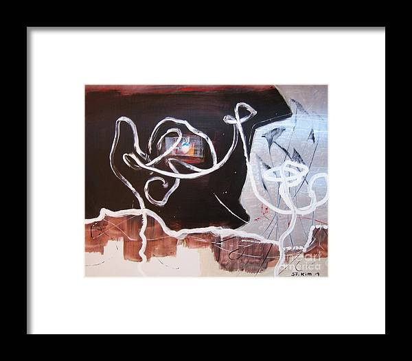 Abstract Paintings Framed Print featuring the painting Hand In Hand by Seon-Jeong Kim