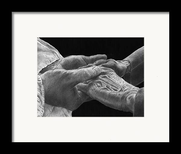 Canvas Prints Framed Print featuring the drawing Hands Of Love by Jyvonne Inman