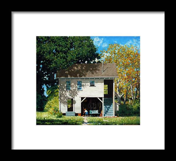 City Framed Print featuring the painting Handy Broom by Kevin Lawrence Leveque