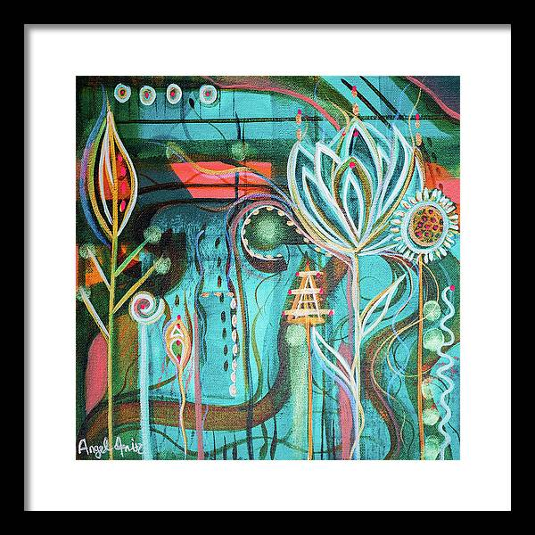 Intuitive Art Framed Print featuring the painting Happy by Angel Fritz