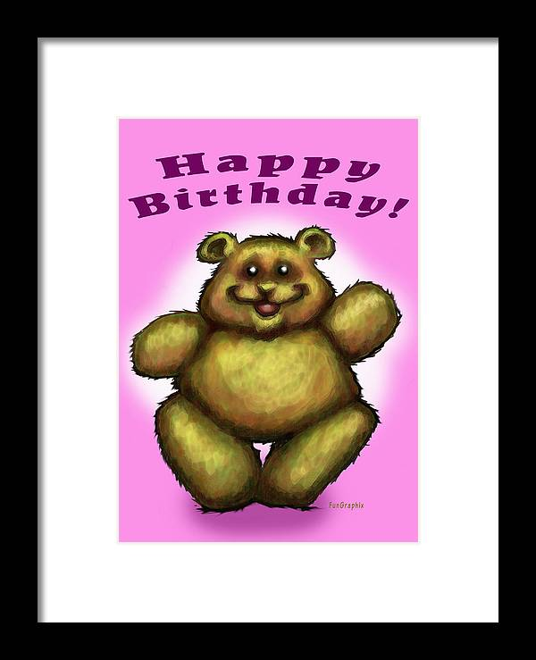 Pink Framed Print featuring the greeting card Happy Birthday Bear by Kevin Middleton